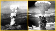 Atomic bomb mushroom clouds over Hiroshima (left) and Nagasaki (right)f_Japan 680x385G