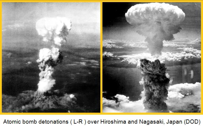 Atomic bomb mushroom clouds over Hiroshima (left) and Nagasaki (right)f_Japan 680x385G_Captioned
